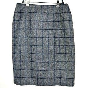 Boden Grey Moon Tweed Windowpane Pencil Skirt